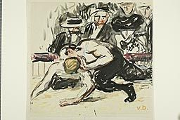 Kees van Dongen Dutch, 1877-1968, The Wrestlers nd Watercolor, gouache & brush & black ink on cream wove paper laid down on cream wove board AIC