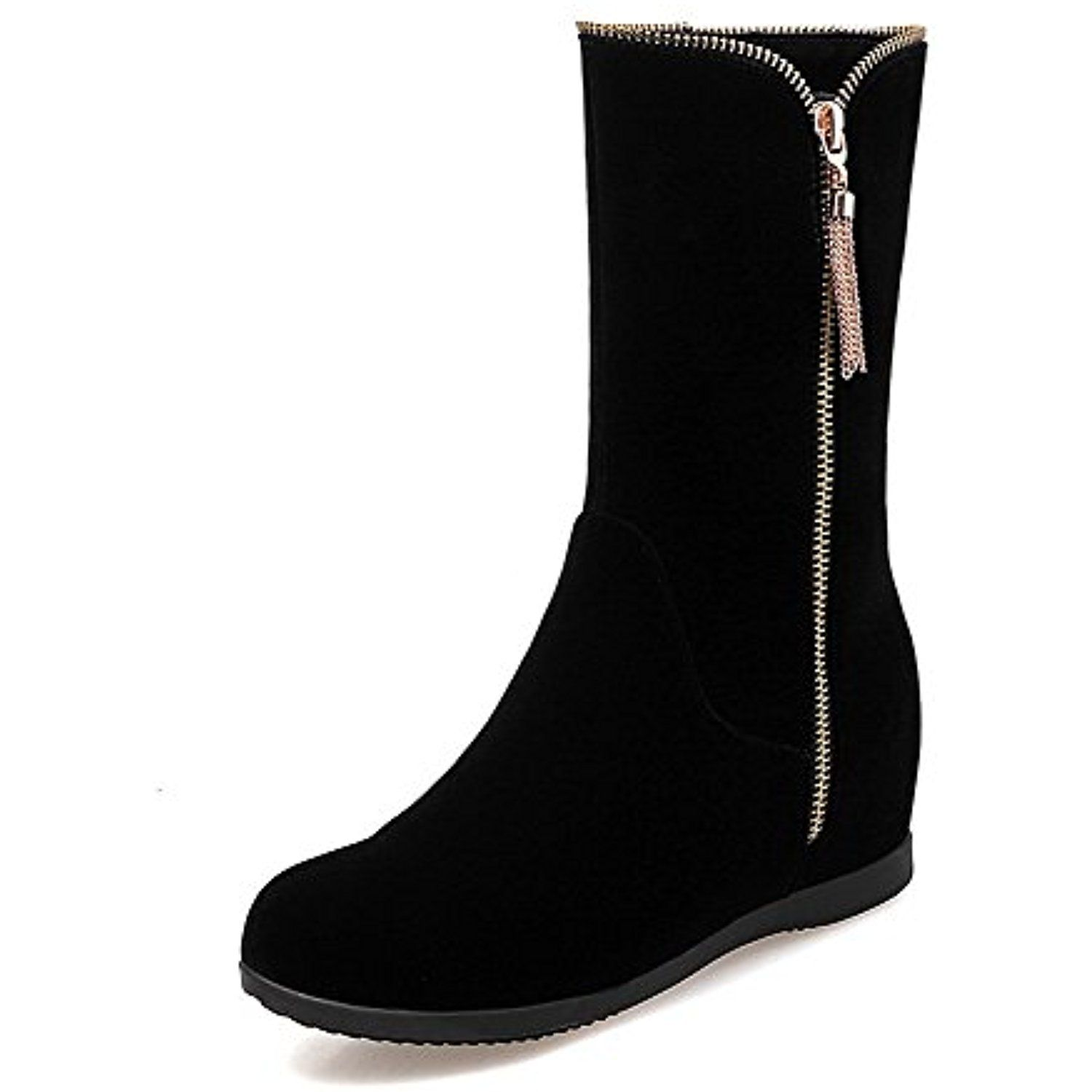 Women's Solid Imitated Suede Kitten Heels Round Closed Toe Zipper Boots
