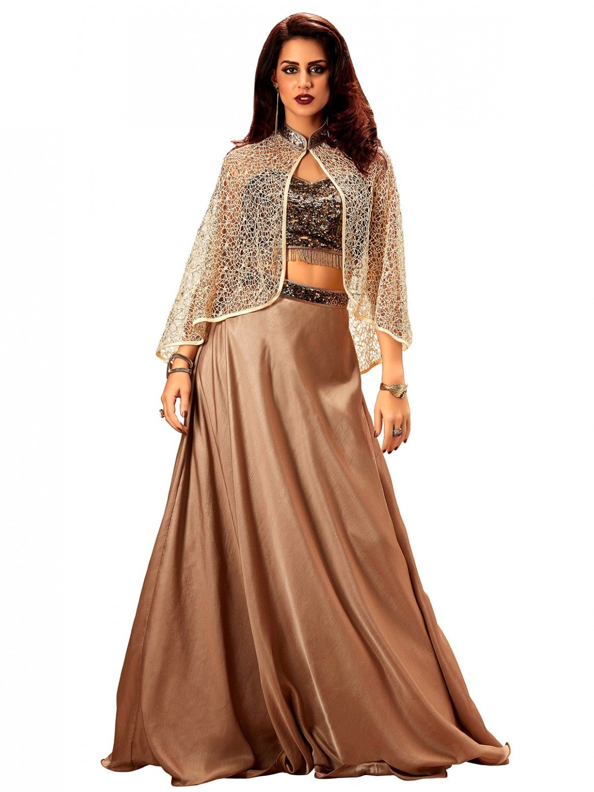 a912562c8975 Buy Khwaab Cape Style Brown Lehenga Online at Low prices in India on  Winsant