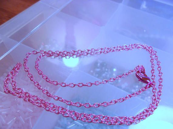 Hot Pink 24 inch Cable Oval Link Chain With Pink Lobster Clap-24 Inch Hot Pink Necklace-Pink Necklace-Pink Chain-Easter Gift-Heavy Duty