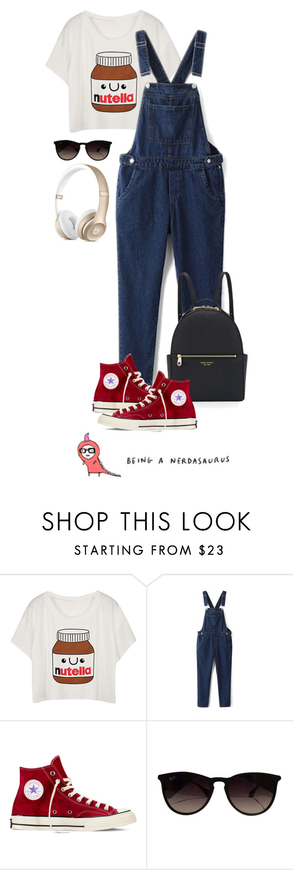 """""""Nerdasaurus (tfp)"""" by boxthoughts ❤ liked on Polyvore featuring WithChic, Converse, Ray-Ban, Henri Bendel and tfp"""