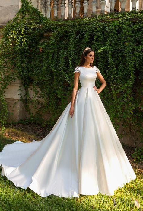 8039211e10a9 crystal design 2017 bridal cap sleeves bateau neckline simple clean classic  ball gown a line wedding dress lace back royal train (medelin) mv