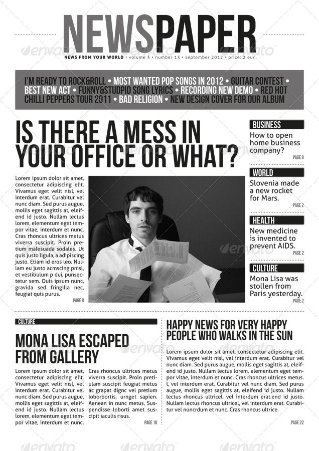 Indesign Modern Newspaper Magazine Template A4 Newspaper - old newspaper template
