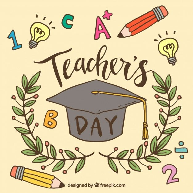 Download Graduate Cap Wreath And Pencils On A Beige Background For Free Happy Teachers Day Card Teachers Day Drawing Teachers Day Card