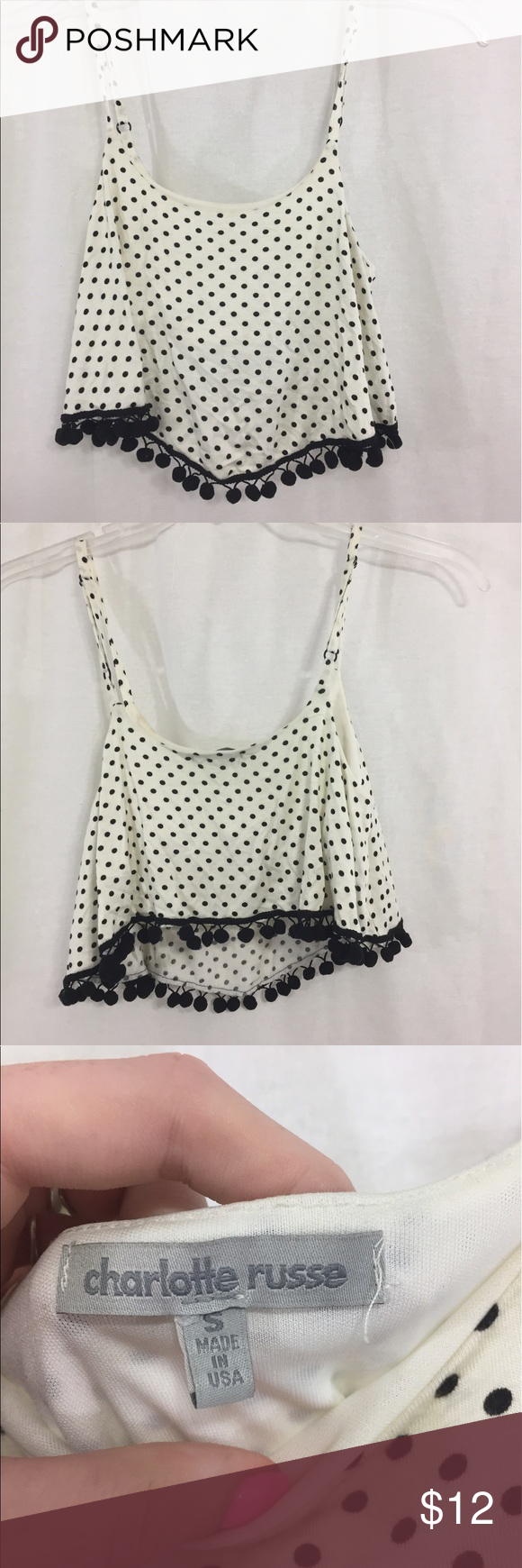 Charlotte Russe Polka Dot Pom Pom Top Size small Charlotte Russe Tops Crop Tops