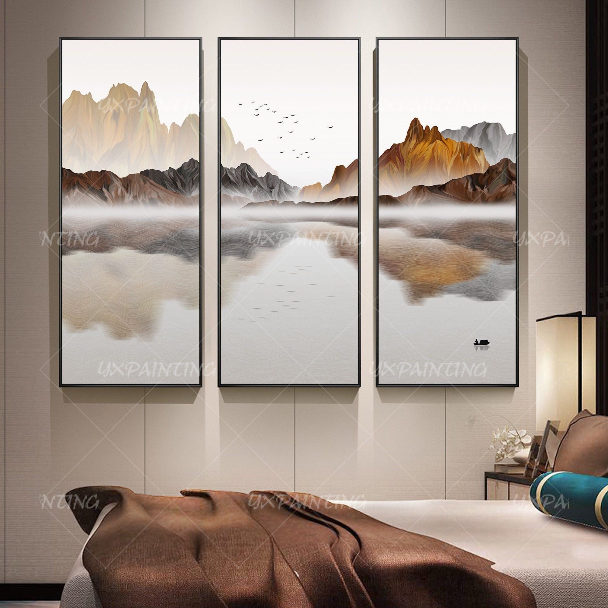 3 Pieces Wall Art Mountain Art Abstract Painting Ready To Hang Etsy Mountain Art 3 Piece Wall Art Three Canvas Painting