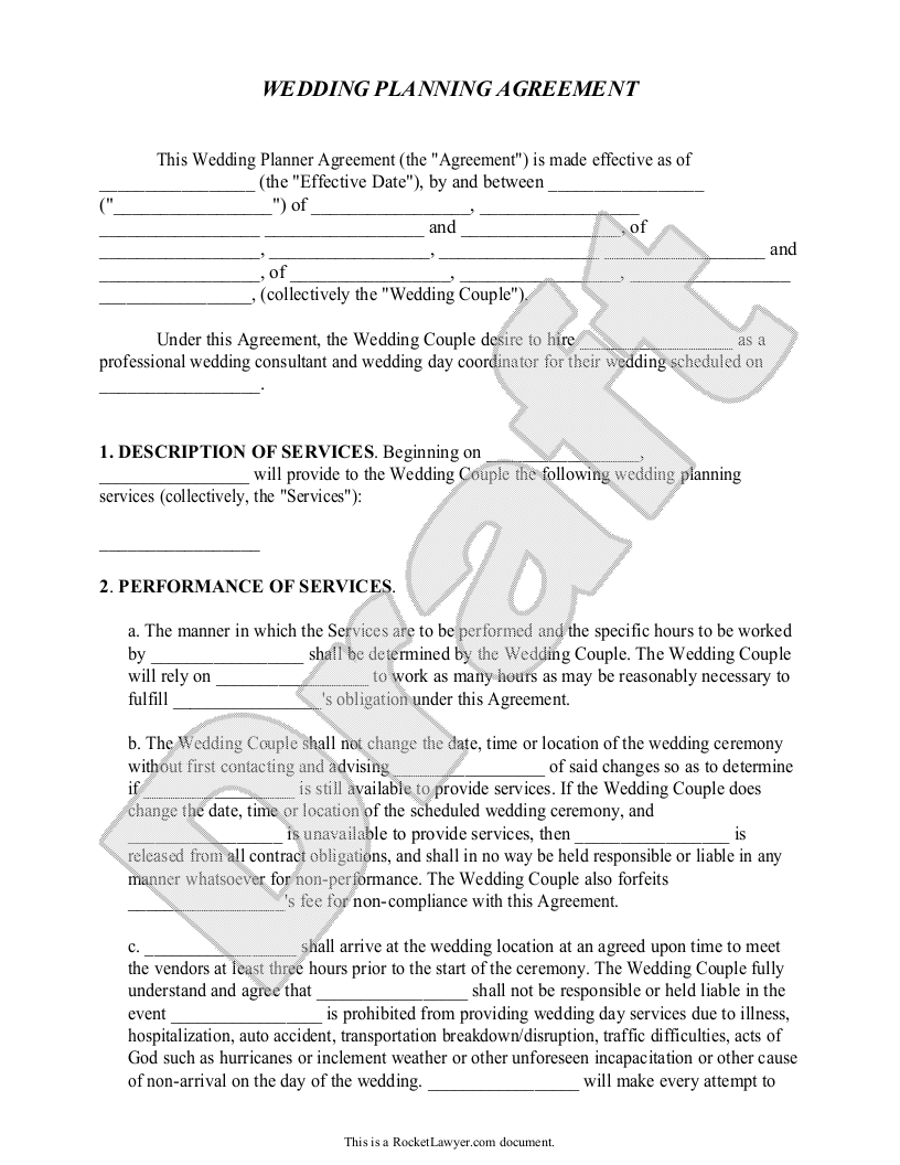 wedding planner contract template free wedding planner agreement form with sample