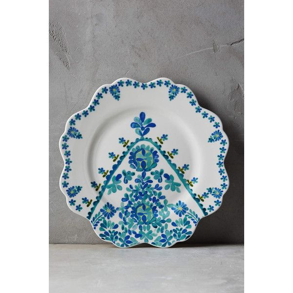 Anthropologie Sylvie Dessert Plate ($16) ❤ liked on Polyvore featuring home, kitchen & dining, dinnerware, turquoise, turquoise dinnerware, stoneware dinnerware, microwave safe dinnerware and anthropologie
