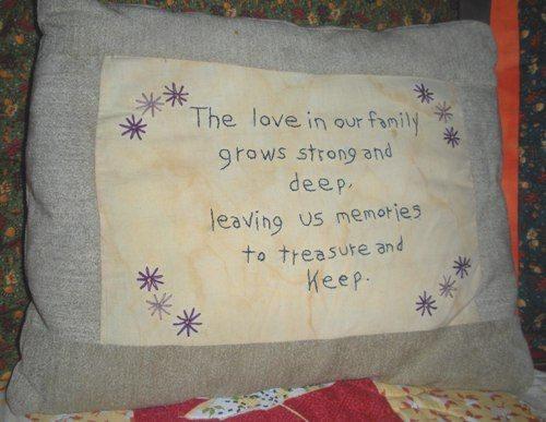 The Love In Our Family.... back stitch pillow.  Great gift idea.