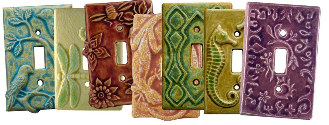 Hand Sculpted Ceramic Art Light Switch Plate And Decorative Outlet Covers By Ceramic Artis Decorative Light Switch Covers Decorative Switch Plate Switch Plates