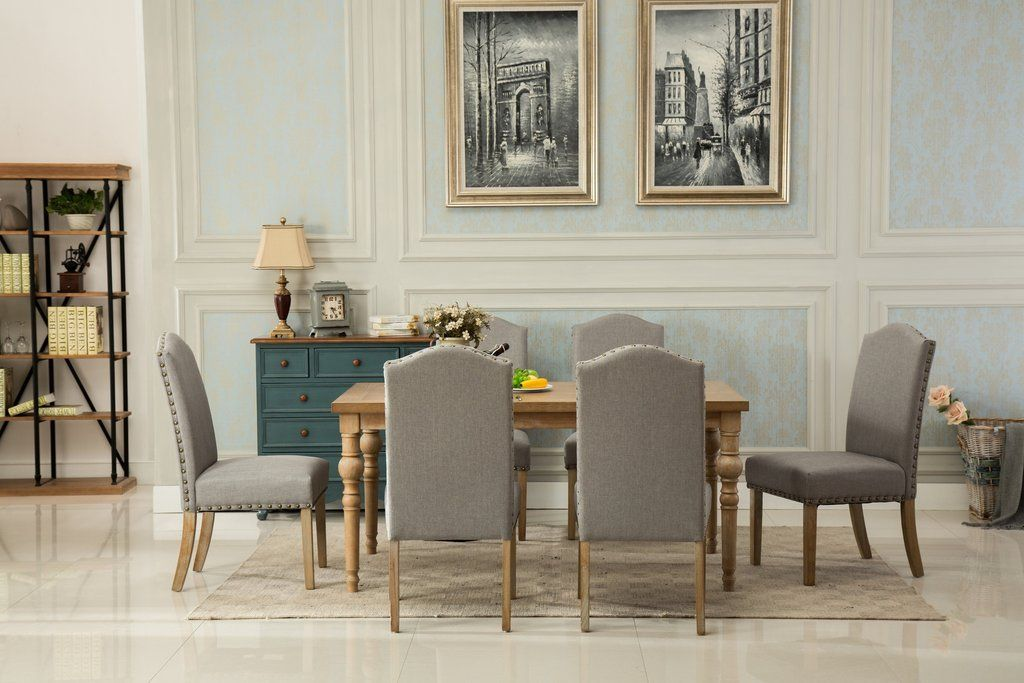 Room Habitanian Solid Wood Dining Table With 6 Nailhead Chairs