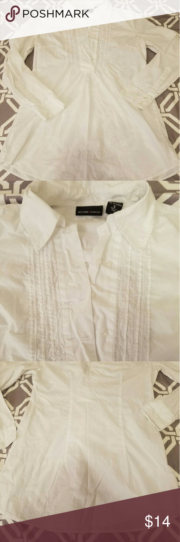 """New York and Co Cotton Shirt Love this shirt. I wore with fitted pants. This is long, 28"""". Looks great with skinny pants or leggings. No flaws. In euc. Size small. Great work wear New York & Company Tops"""