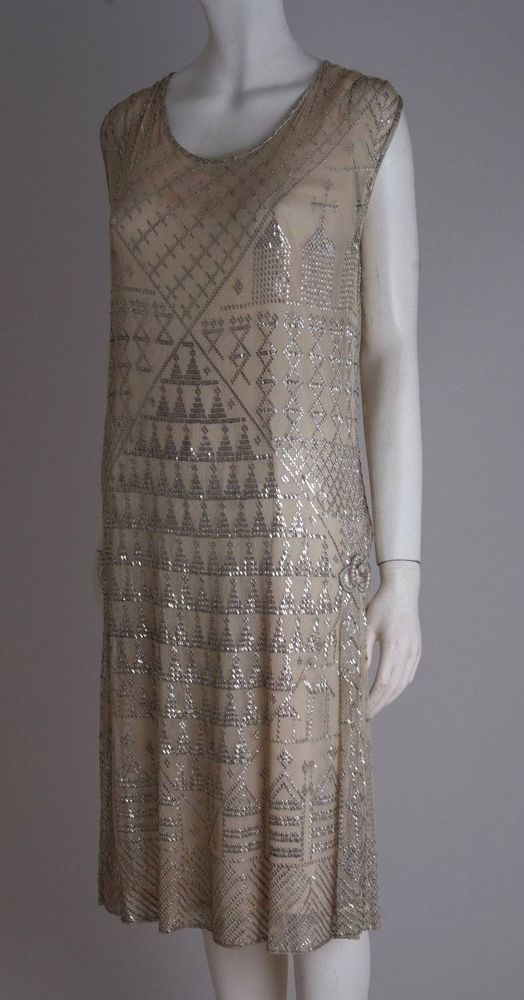Stunning antique 1920s Assuit shawl dress with faux pearl embellishments 58f629fe2ae