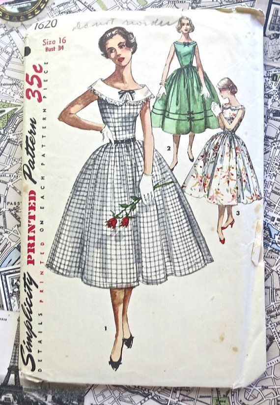 Simplicity 1620 - Vintage 1950s Womens Dress Pattern with Wide ...