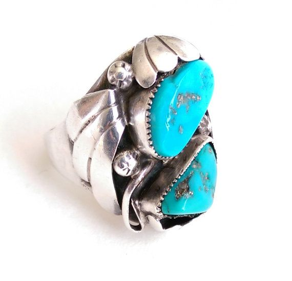 Mens Navajo Turquoise Sterling Silver Ring by 55thAvenueVintage