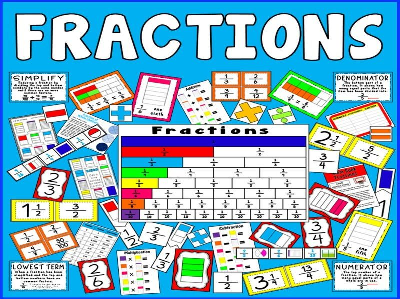 Fractions teaching resources ks2 ks3 ks4 maths numeracy display ...