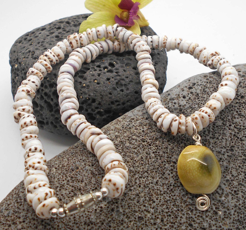 Tiger Puka Shell Necklace with Shiva Cat Eye Shell Beach