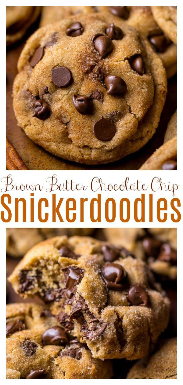 Brown Butter Chocolate Chip Snickerdoodles - Baker by Nature -   19 best holiday Cookies ideas