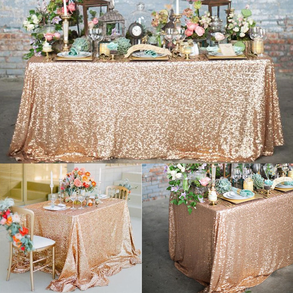 Rose Gold Sequin Tablecloth Glitter Round Rectangular Embroidered Table Cloth For Weddi Gold Sequin Tablecloth Table Covers Wedding Rose Gold Sequin Tablecloth
