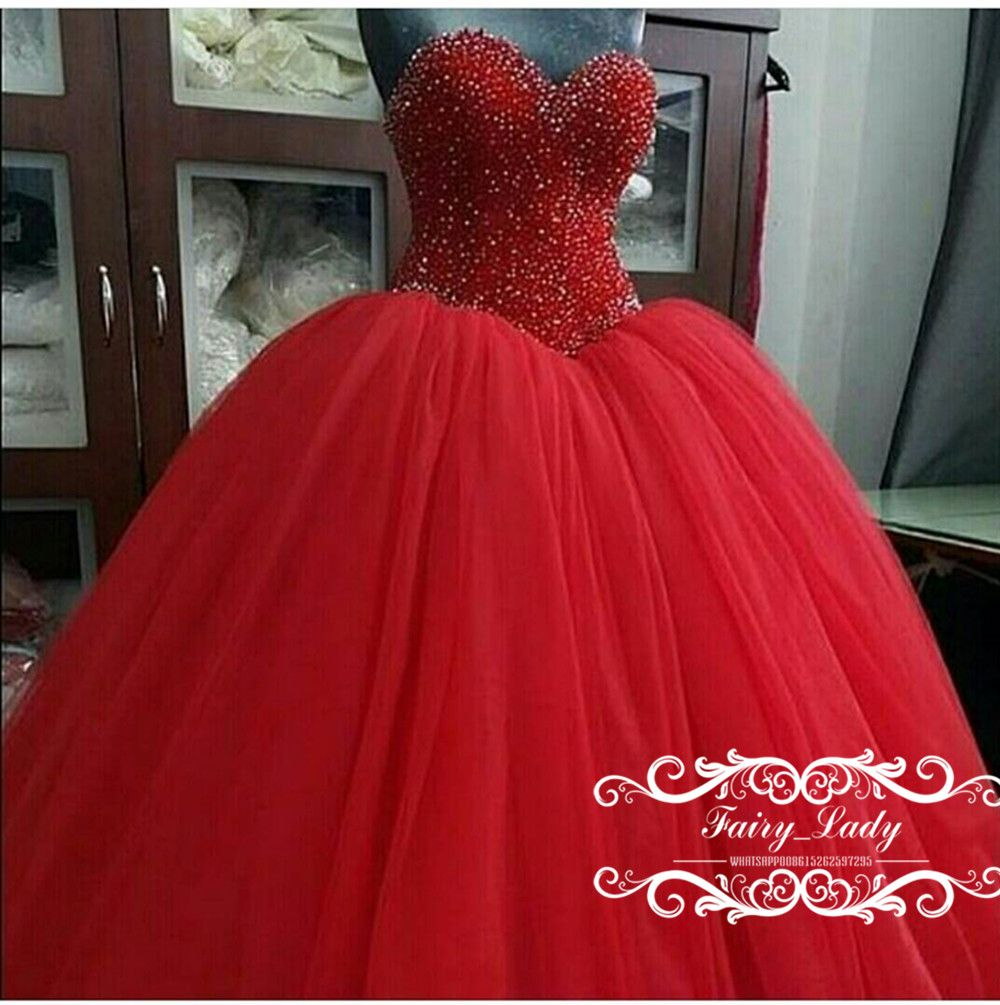 6680150e6b 2018 Major Beading Red Quinceanera Dresses Vestidos De 15 Anos Puffy ...