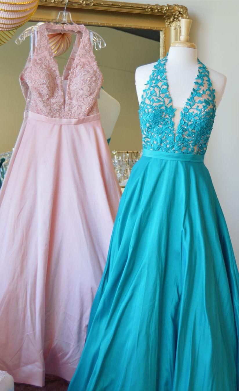 2018 long prom dresses, princess v neck pink long prom dresses, blue ...