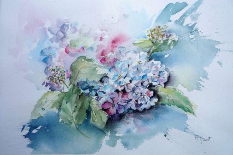 Tableau Peinture Hortensia Fleurs Jardin Bouquet Hortensias