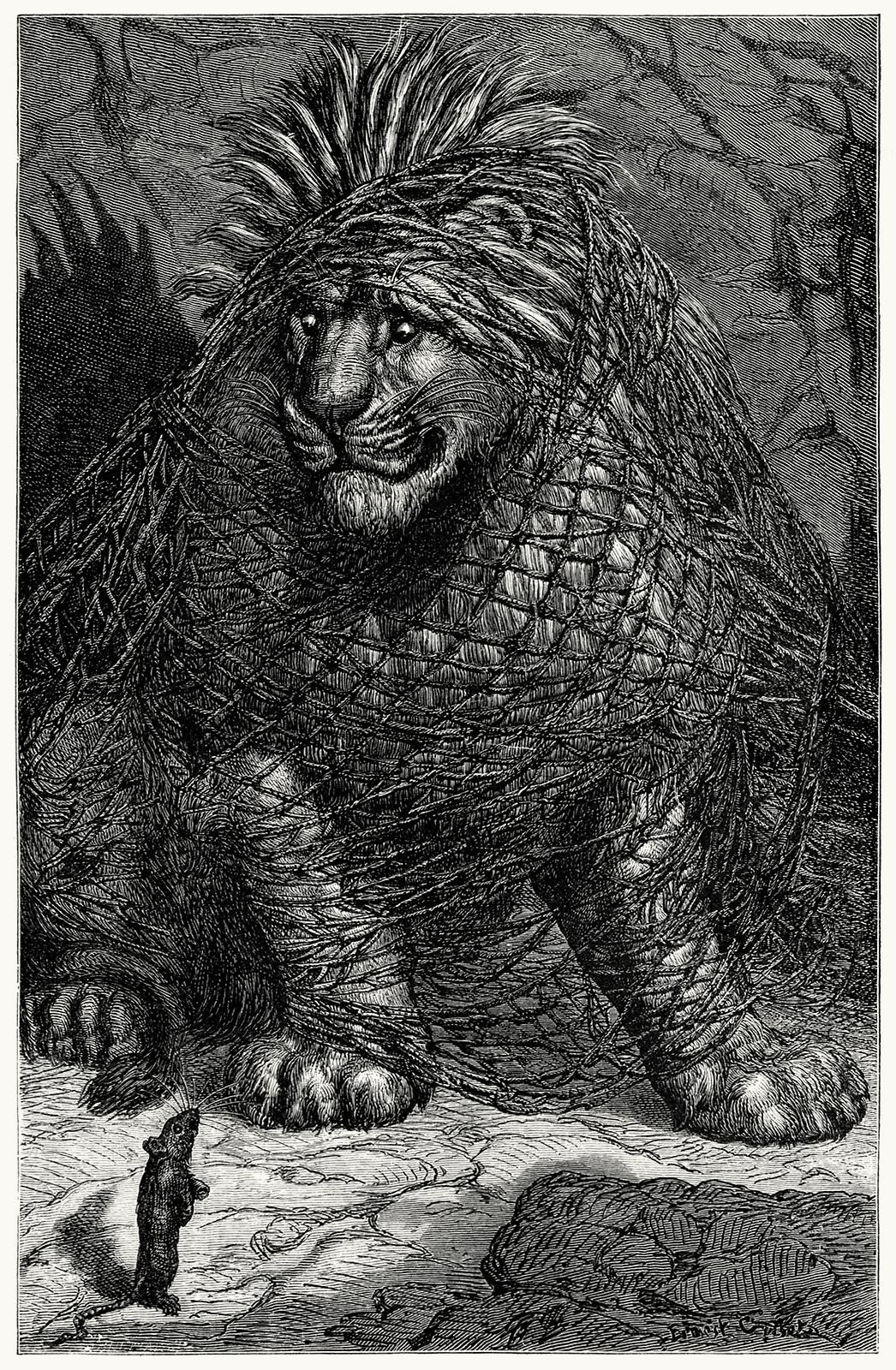 The Lion And The Mouse Ernest Griset From Sop S Fables