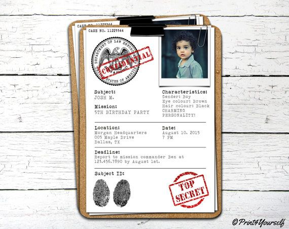 Case File Invite // Personalized Printable Top Secret Case File