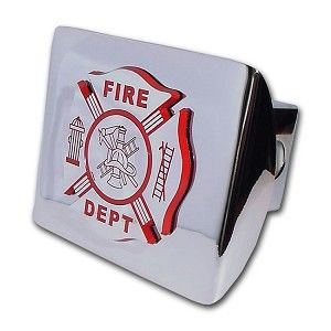 """Firefighter Chrome And Red Hitch Cover. Made in the USA. A step above in quality and appearance. Hitch Cover Front plate 5 x 3.5 Fits standard 2"""" trailer hitch receivers. Made from all metal, Elektroplate's high-end hitch covers are regarded by many consumers as the nicest on the market."""