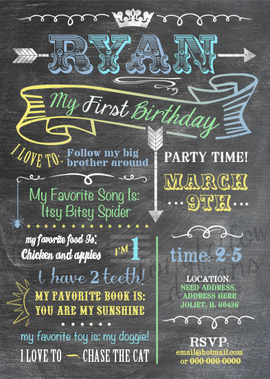 Printable Baby S Firsts Birthday Invitation BOY OR GIRL Chalkboard