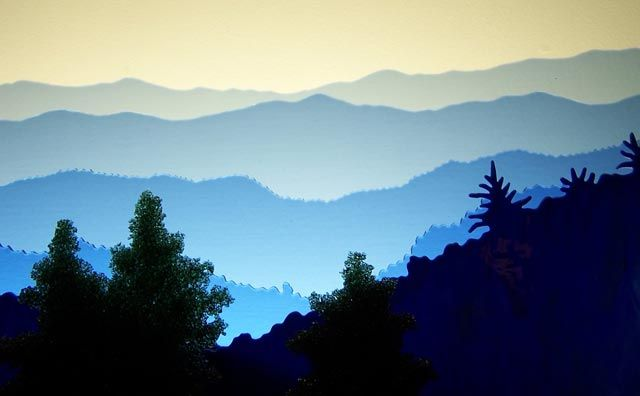 Great Smoky Mountains Mountain Painting Acrylic Silhouette