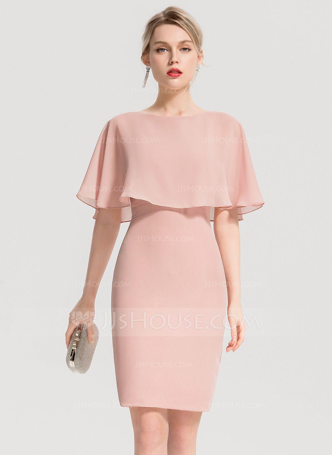 0a215cbbb800 Sheath/Column Scoop Neck Knee-Length Chiffon Cocktail Dress With Cascading  Ruffles (016154231