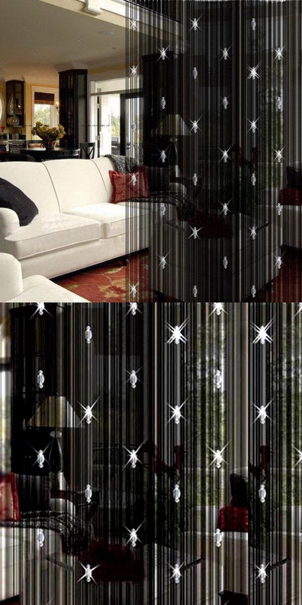 Beauty Decorative String Curtain With 3 Bead Door Window Panel Room Divider T31