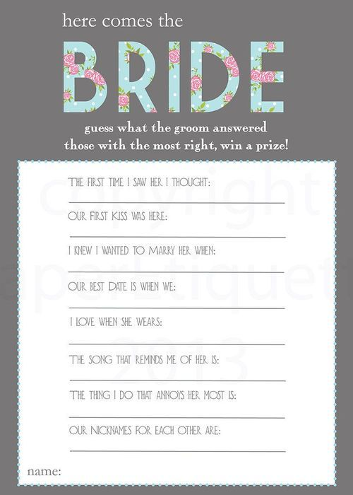 here comes the bride shower games