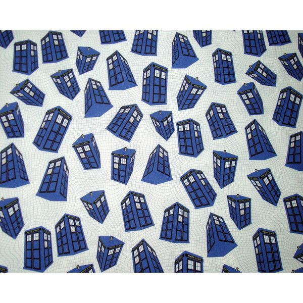 Doctor Who Fabric Fat Quarter - Spinning Tardis on White ($8) found on Polyvore