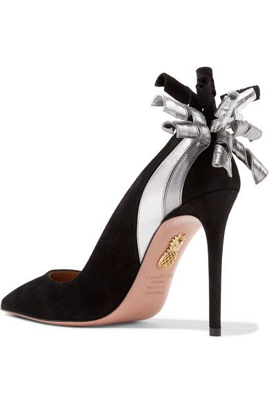 Fire Embellished Metallic Leather-trimmed Suede Pumps - Black Aquazzura
