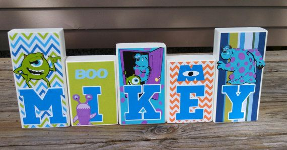 Items Similar To Vanessa Monsters Inc Personalized Wood Name Blocks   Nursery Name Boy Blocks Girl Blocks Nursery Decor Baby Blocks Kids Decor  Gifts On Etsy