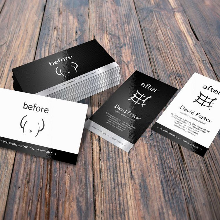 Gym Fitness Before And After Personal Trainer Business Card You Can Customize This Card With Your Own Text Logo Photo Or Use This Pre Existing Temp Biglietto