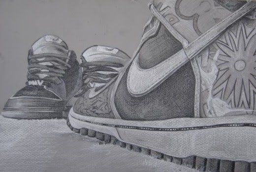 Contour Line Drawing Shoes Lesson Plan : Detailed drawing of two nike shoes by artist mark stewart