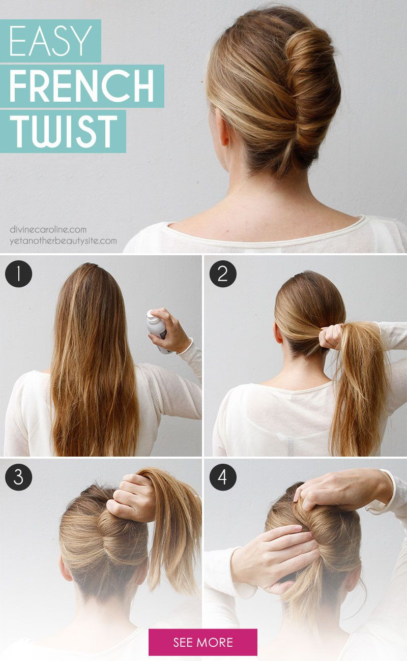 Go Classically Chic With This Easy French Twist More French Twist Hair Twist Hairstyles Medium Hair Styles