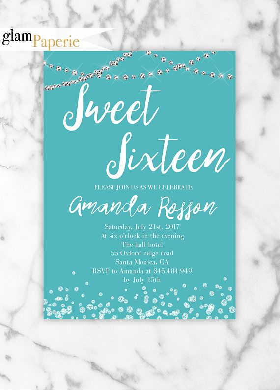 Blue Sweet 16 Invitation Printable Sweet 16 Party Sweet 16 Anya