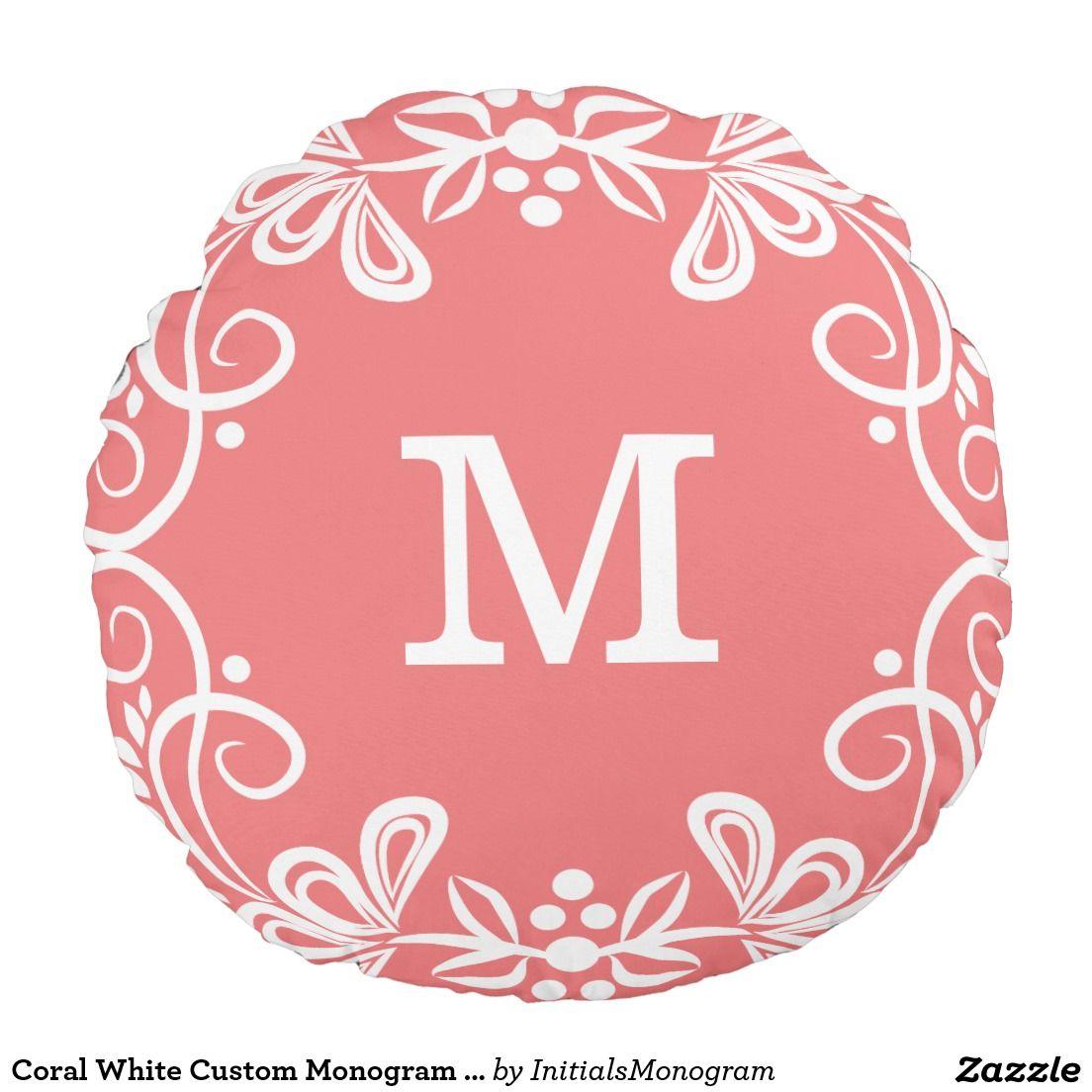 Coral White Custom Monogram Decorative Round Pillow