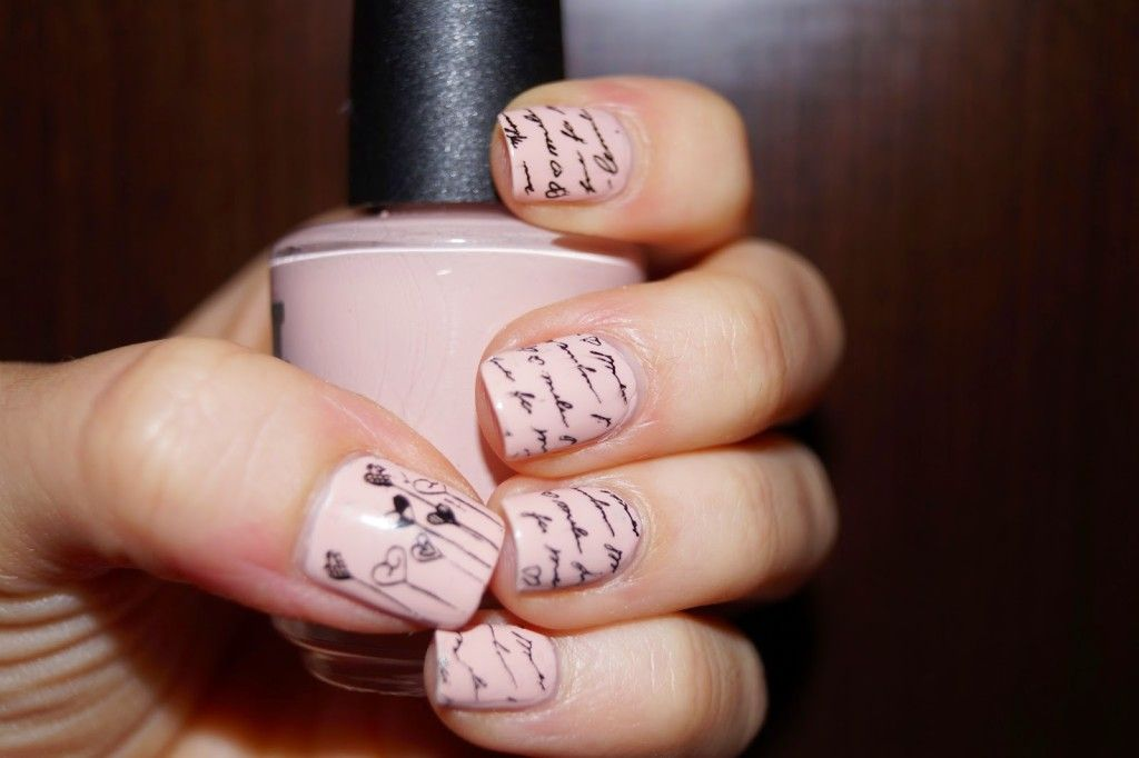 Nude Nails With Black Nail Art Jessica Soho In Love Essence