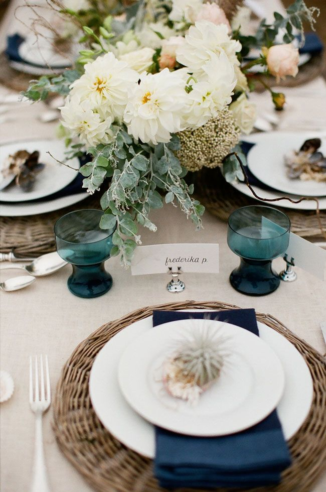 A Nautical Inspired Wedding Shoot in Bodega Bay, California #tablescape #place setting