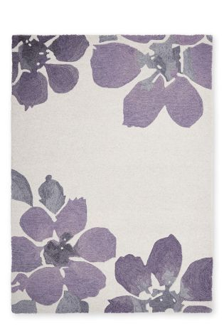 Wool Mauve Watercolour Bloom Rug From The Next Uk Online