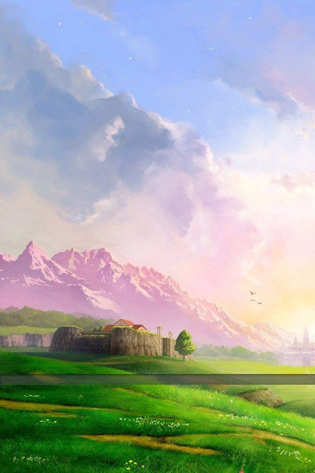 The Legend Of Zelda Ocarina Of Time 3d Iphone Wallpaper Zelda Paysage Fond Ecran
