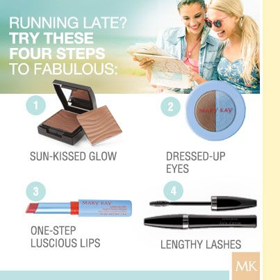 Four steps to fabulous: Mary Kay® Bronzing Powder, Limited-Edition† Mary Kay® Springy Eye Duo in Stonewashed, Limited-Edition† Mary Kay® Creamy Lip Color in Retro Rose and Mary Kay® Ultimate Mascara™. #HelloSunshine