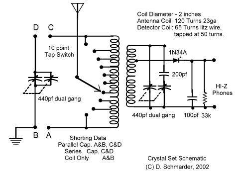 dave s 6 crystal radio schematic crystal radio pinterest rh pinterest com
