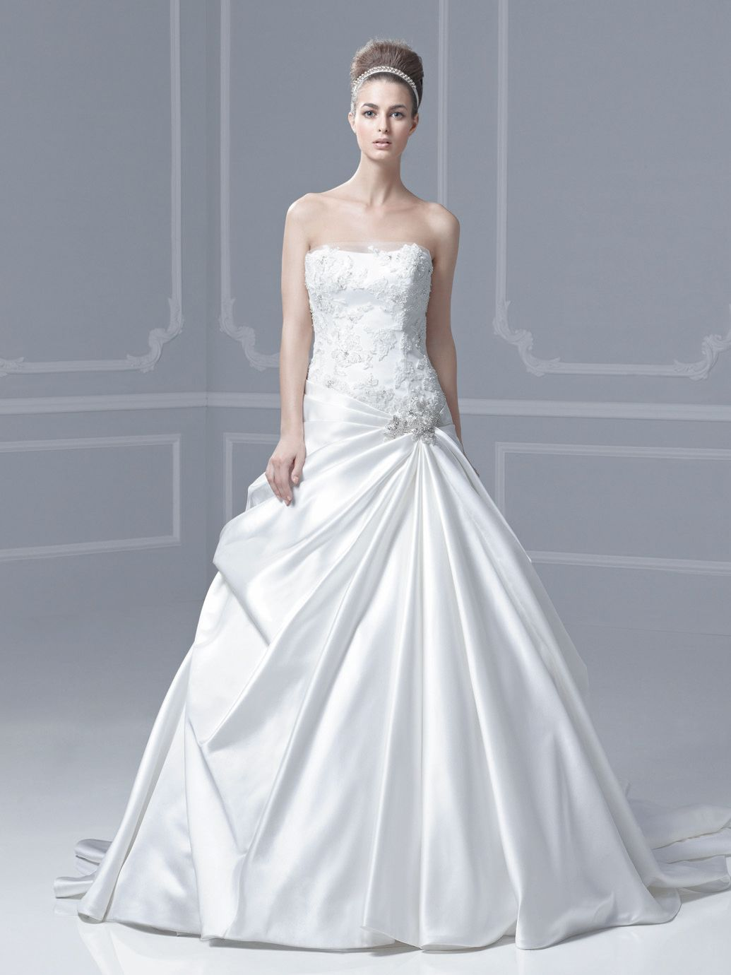 604 BLUE BY ENZOANI FLORENCE SZ 12 IVORY STRAPLESS WEDDING GOWN ...