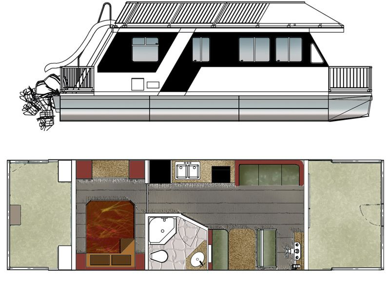 Custom Houseboat Sales And Manufacturing Floorplans House Boat Trailerable Houseboats Small Houseboats